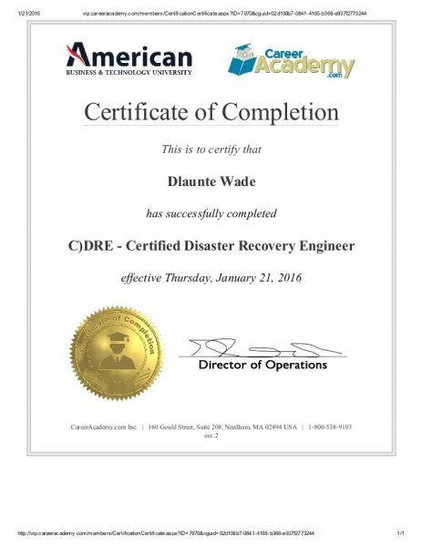CDRE - Certified Disaster Recovery Engineer
